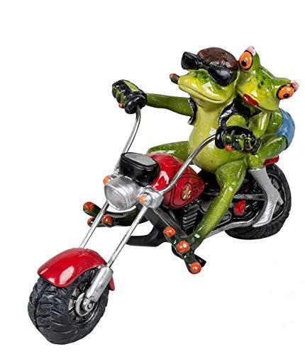 dekojohnson Divertida figura decorativa de rana en moto, figura decorativa de animalito graciosa rana en chopper, pareja de motoristas, color verde y rojo, 13 x 19 cm