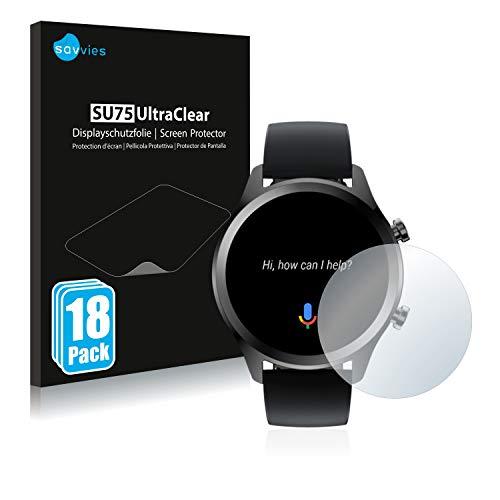 Savvies 18x Schutzfolie kompatibel mit Mobvoi Ticwatch C2 Plus Bildschirmschutz-Folie Ultra-transparent