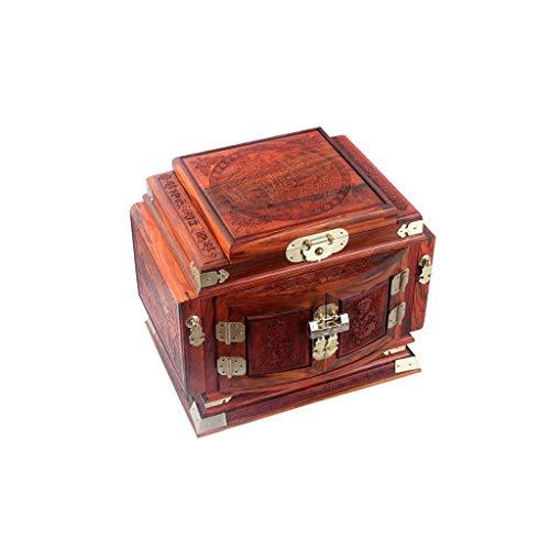 Preisvergleich Produktbild SMEJS Jewelry Box Organizer,  große hölzerne Schmuckschatulle,  integrierte Spiegel und Lock,  Doppel-Tür-Fach Schmuck Aufbewahrungsbox