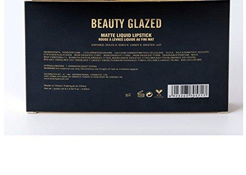 Beauty Glazed - Juego de pintalabios líquido mate 6 colores, resistente al agua, de larga duración, antiadherente, pigmentos intensos, sin crueldad vegana