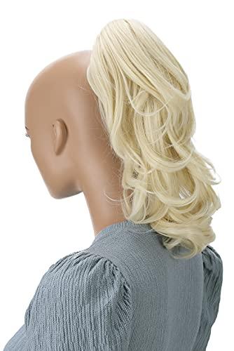 PRETTYSHOP 30cm Postiche Natte Queue De Cheval Extensions De Cheveux Volumineux Ondulé Blonde Platine H133