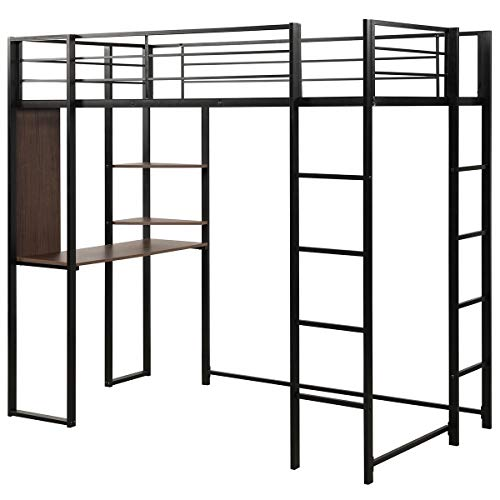 Giantex Metal Loft Bed Frame with 2 Ladders, Space-Saving Bunk Bed with Safety Guard Rails, Twin Loft Bed with Desk 2 Tier Shelves for Bedroom Dorm, Boys & Girls Teens Kids Room (Twin, Black)
