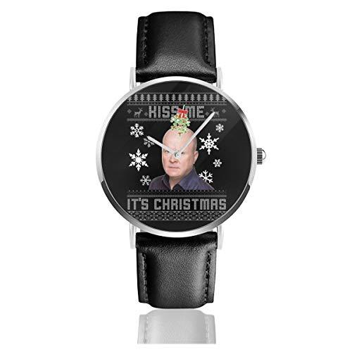 Unisex Business Casual Phil Mitchell Kiss Me Its Christmas Strickmuster Uhren Quarz Leder Armbanduhr mit schwarzem Lederband für Männer und Frauen Young Collection Geschenk