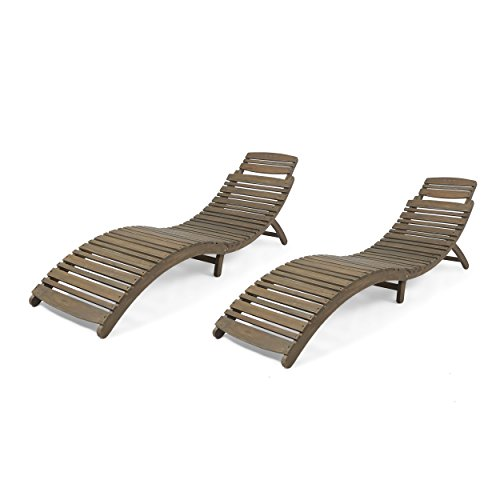 Christopher Knight Home 305101 Tycie Outdoor Acacia Wood Foldable Chaise Lounge (Set...