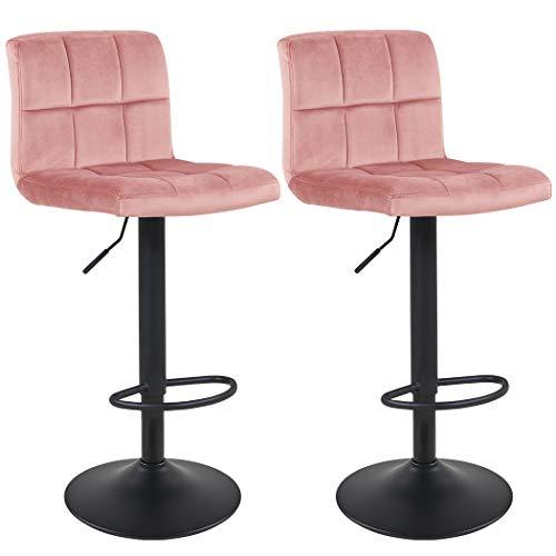 Duhome Barhocker 2X Barstuhl Kunstleder oder Stoff Tresenhocker Bar Sessel gut gepolstert höhenverstellbar mit Lehne eckig 451Y, Farbe:Pink, Material:Samt