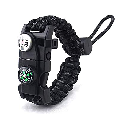 daarcin Paracord Survival Bracelet,with Waterproof SOS Light, Fire Starter,Compass, Whistle, Adjustable AK87 20 in 1,Outdoor Ultimate Tactical Survival Gear Set,Gift for Kids,Men from Chundaxin