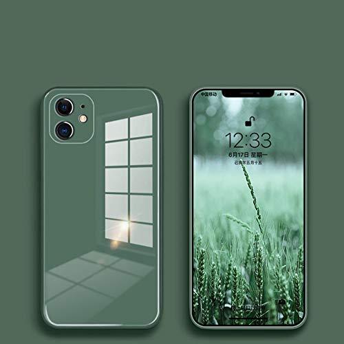 FYMIJJ Estuche de Vidrio líquido para iPhone 12 11 Pro X XS MAX XR SE2 7 8 Plus Estuche Protector de contraportada Colorido anticaída Resistente a los arañazos, Verde, para iPhone 12Pro