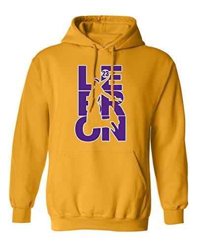 Beach Open Lebron Fan Wear 23 Los Angeles LA Basketball DT Sweatshirt Hoodie (Medium, Gold w/Purple White)