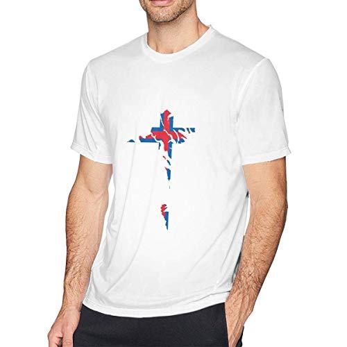 shenguang Camisetas de algodón de Manga Corta con mapas y Banderas de Las Islas Feroe para Hombre