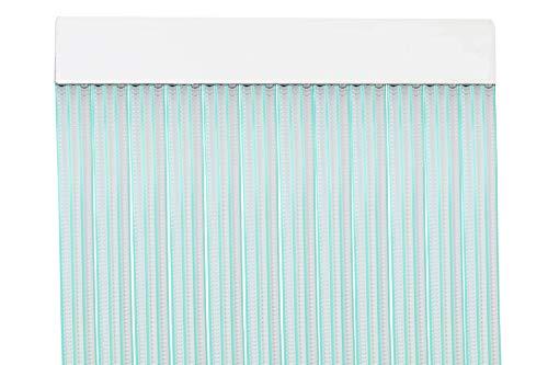 MercuryTextil P69 - Tenda Porta in PVC, 210 x 90 cm, Trasparente + Filo Verde