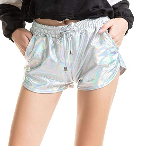 Summer Casual Metallic Booty Shorts, Vrouwen Shiny Elastiek in De Taille Hot Shorts Sexy PU Leer Sport Yoga Dance Pants Mini Female Korte Rok Met Zakken