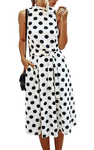 Spec4Y Kleider Damen Lang Rockabilly Vintage Cocktailkleid Elegant Partykleid Polka Dot Ärmellos Sommerkleider mit Taschen Weiß Medium