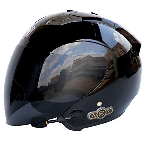 Casco Motocicleta Cara Abierta Bluetooth, Casco Moto para Adultos con Doble Visera Antiniebla, Cascos Motocross Micrófono Incorporado,Black0B,XL