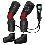 Leg Massager for Circulation with Heat, Cohotek Air Compression for Calf Thigh Foot Massage, 4 Modes 4 Intensities Foot Massager Pain Relief Sequential Boots Device with Handheld Controller