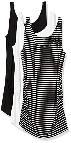 Amazon Essentials 3-Pack Rouched Fashion-Maternity-Tank-Top-and-Cami-Shirts, Rayas Delgadas Negro/Blanco/Negro, S