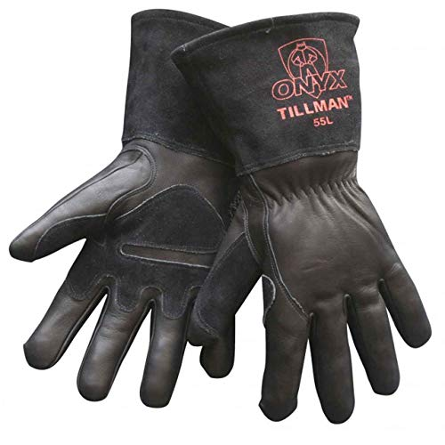 Tillman 55 Onyx Black Top Grain/Split Cowhide MIG Welding Gloves, X-Large