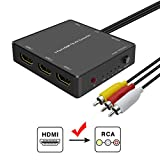 3 Port HDMI to RCA Converter, hdmi to av Adapter for Older tv, hdmi to Composite for Fire Stick, Roku Streaming Sticks, Xbox one, PC, DVD Players, Supports PAL/NTSC, 1080P.