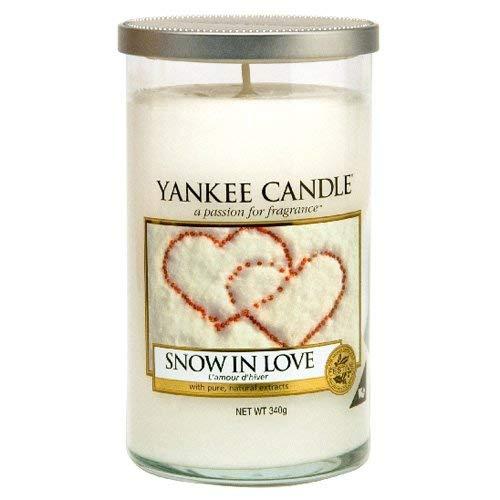 Yankee Candle Snow In Love Pillar Scented Jar Candle, Medium, Blanco, Vidrio Mediano