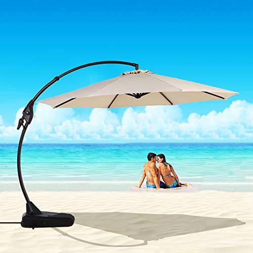 INOVIX Grand Patio Deluxe Napoli 11 FT Curvy Aluminum Offset Umbrella Cantilever Umbrella UV Protected Outdoor Umbrella with Push Button Tilt and Crank,Patio Cantilever Umbrella with Base for Outdoor