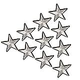 Parches de estrella de plata bordados XUNHUI para aplicar con planchado sobre ropa, para ropa, bolsas de jersey, parche DIY 10 piezas