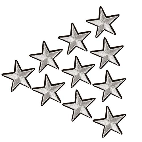 XUNHUI Bestickte Silberfarbene Stern Sternenflicken zum Aufbügeln für Kleidung Aufnäher 10 Stück