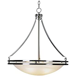 AF Lighting 617601 Contemporary Lighting Collection Chandelier, Brushed Nickel, 20-58-Inch W by 23-12-Inch H