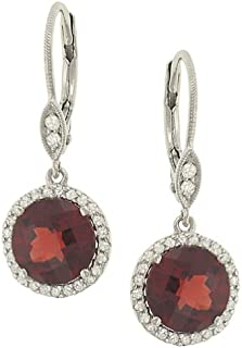 Meira T Halo Style Pave Diamond and Garnet Dangle Earrings