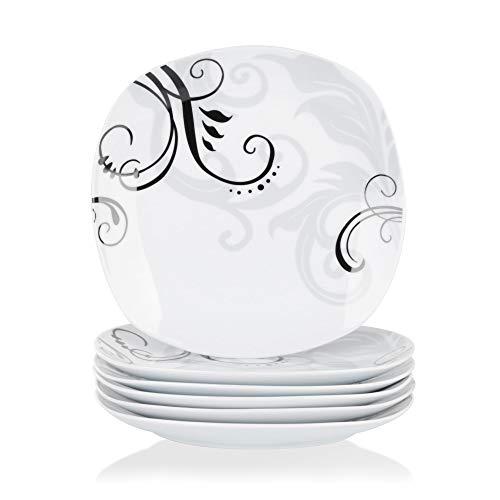 VEWEET, série Zoey, 6 Plates à Dessert, en Porcelaine, Plateau en Vaisselle