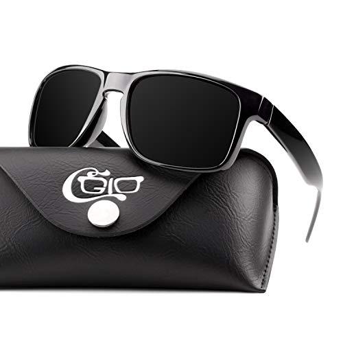 CGID Sport Sonnenbrille für Herren Damen Individuelle TourDePro Polarisierte Gläser UV400 Schutz TR90 Rahmen Warm Around Design toll für Fahren oder Spazieren Schwarzer Rahmen Schwarze Gläser M03