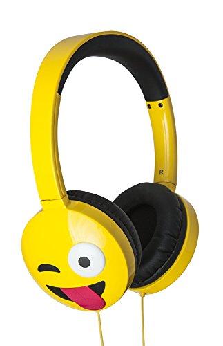 Jamoji Kopfhörer, mit Bügel, 3,5 mm Klinkenstecker, LOL, Laughing out Loud Smiley Emoticon Emoji, Bügelkopfhörer bis 85db, extra für Kinder geeignet