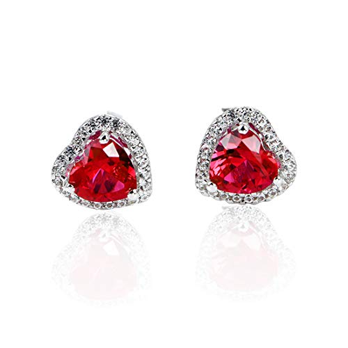 Lab Created Ruby Gemstone Earring Studs Hearts Shape 6x6mm Sterling Silver Studs Women's Engagement Earring