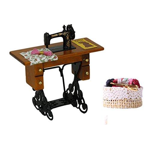 Fenteer Puppenhaus Nähmaschine 1/12 Miniatur Nostalgie Nähmaschine mit Nähen Weidenkorb Puppenhaus Spielzeug Dekoration