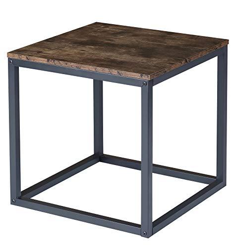BOTONE Quadratischer Wohnzimmer-Tisch mit stabilem schwarzem Rahmen aus Stahl und rustikaler Holzoberfläche in schön modernem Design; (50x50x50cm)