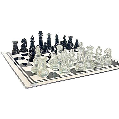 Urhause Manuelles Glasschachspielset Glasschachspielset Schachspiel Geschenk Spiel Glasbrett Bodenmais Glasspiel Schach Für Jugendliche Erwachsene Geschenk M 25x25CM
