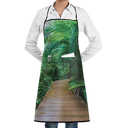 LOSNINA Delantal de cocina Impermeable y antiincrustante para hombres delantal de chef para mujeres restaurante de jardinería barbacoa cocinar hornear,Trópico Madera Embarcadero Salvaje Exótico
