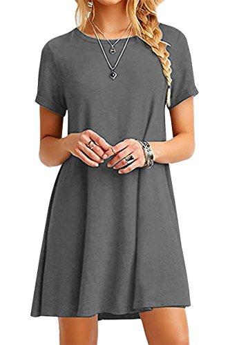 YMING Damen Kleid Sommerkleid Casual Shirtkleid Kurzarm Longshirt Looses Tunikakleid,Grau,M/DE 38