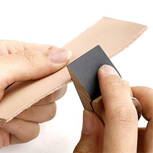 Winwinfly Wooden Sandpaper Grinding Block Handmade Leather Craft Square Bevel Wedge Polishing Sanding Block Holder for DIY Edge Grinding Tools