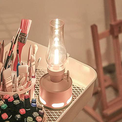 Sensor de Flujo de Aire Retro Mesa Lámpara Noche Luz LED Decoración Moderna Imitación Keroseno Sensor de Gravedad Lámpara Lámpara de Noche Lámpara de Noche (Color : Pink)