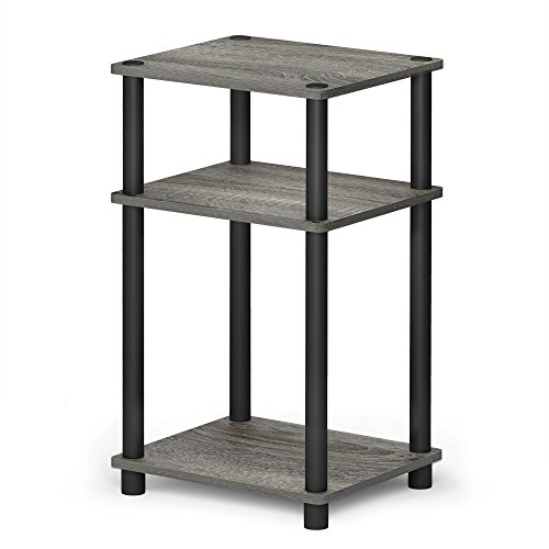 FURINNO Just 3-Tier End Table, 1-Pack, French Oak Grey/Black