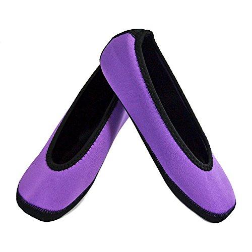 Nufoot Ballet Flats Women s Shoes  Foldable & Flexible Flats  Slipper Socks  Travel Slippers & Exercise Shoes  Dance Shoes  Yoga Socks  House Shoes  Indoor Slippers  Purple  Medium