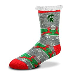 For Bare Feet - NCAA Women's Sherpa Slipper Socks - One Size Fits Most-Michigan State Spartans