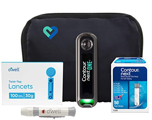 Contour Next ONE Diabetes Testing Kit | Contour Next ONE Bluetooth Meter, 50 Contour Next Blood Glucose Test Strips, 50 O'WELL Lancets, O'WELL Lancing Device, LogBook, User Manual & Carry Case