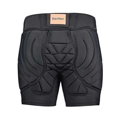BenKen Ski-Schutzhose, gepolsterte Hose, für Damen und Herren, 3D-Schutz, Hüft-Gesäßschutz, atmungsaktiv, stoßfest, für Snowboarden, Skaten, Padded Short Pants, Größe S