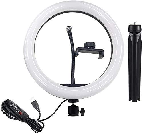 ZouYongKang Iluminación de Anillo Selfie con Soporte de trípode y Soportes telefónicos, anbes Dimmable LED Cámara de la cámara para fotografía/Maquillaje/transmisión en Vivo Video/Youtube, compa