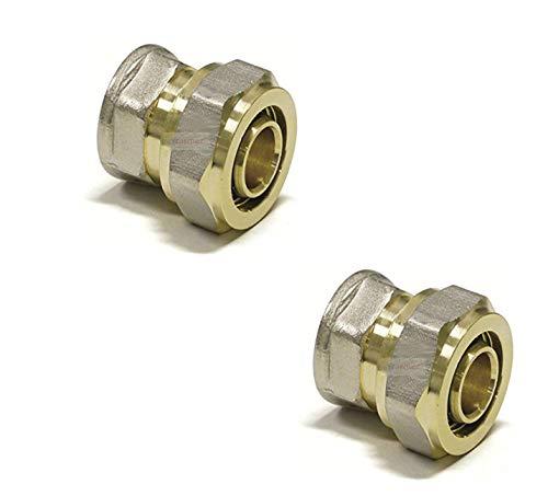 Adaptador reductor acodado de PEX-AL-PEX de 16 mm a de cobre y pl/ástico de 15 mm