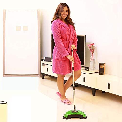 3 in 1 manueller Sweeper Kehrbesen ohne Strom Broom Handkehrmaschine Zwei Kehrbesen manuell Kehrwalze Kehrmaschine Besen (Grün)