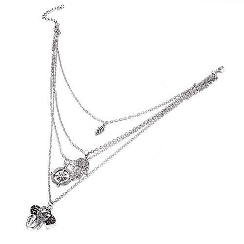 Fnito Collar Elefante Luna Hoja Colgante Gargantilla Vintage Plata Metal OM Collar Collar Mujeres Boho Multicapas Chockers Collares