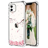 Hepix Cherry Blossom iPhone 11 Case Pink Petals Flowers iPhone 11 Clear Cases, Crystal Soft Flexible TPU Phone Cover with Protective Bumpers Anti-Scratch Shock Absorbing for iPhone 11 (6.1') 2019