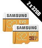 Samsung EVO Plus Lot de 2 cartes mémoire microSDHC de 32 Go, 95 Mo/s UHS-I U1 Classe 10 avec 2 adaptateurs