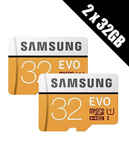 2 x Samsung Speicher Evo 32 GB Micro SDHC Card 95 MB/s UHS-I U1 Class 10 mit Adapter (Multipack von 2 Karten und Adapter)
